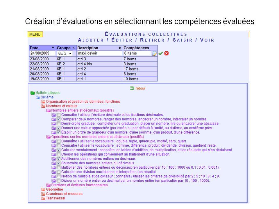 Création d'évaluations en sélectionnant les compétences évaluées