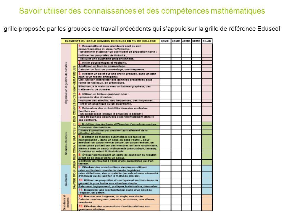 Savoir utiliser des connaissances et des compétences mathématiques grille proposée par les groupes de travail précédents qui s'appuie sur la grille de référence Eduscol