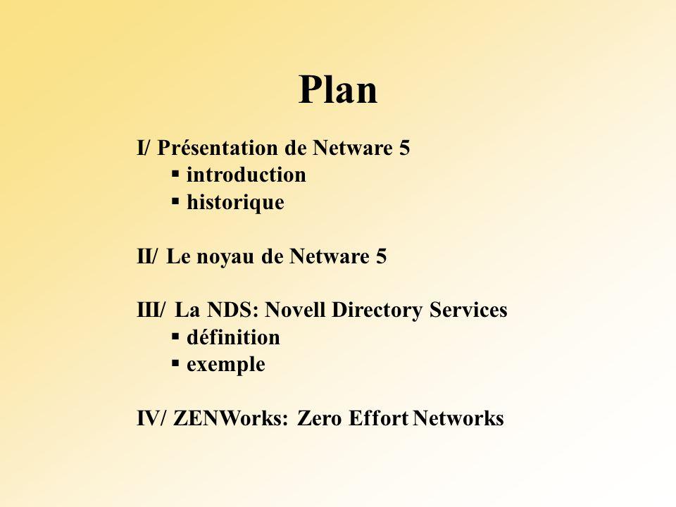 Plan I/ Présentation de Netware 5 introduction historique