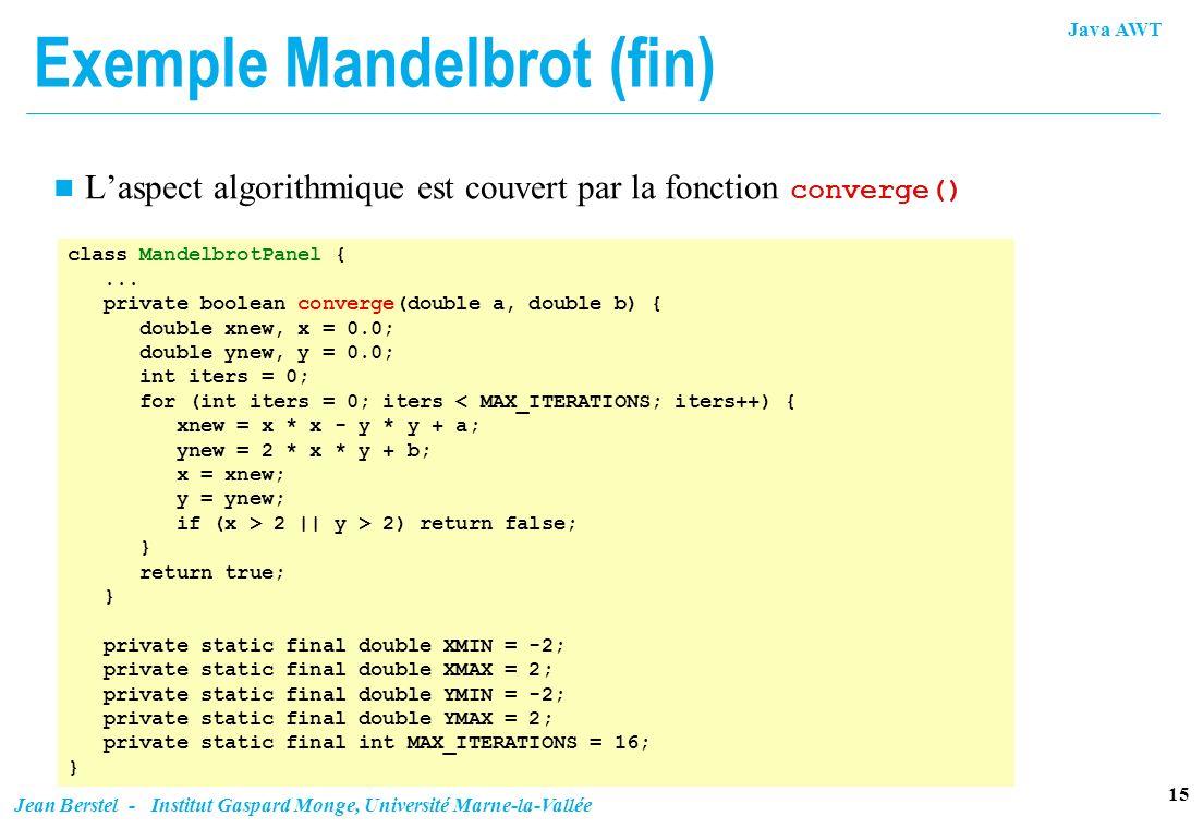 Exemple Mandelbrot (fin)