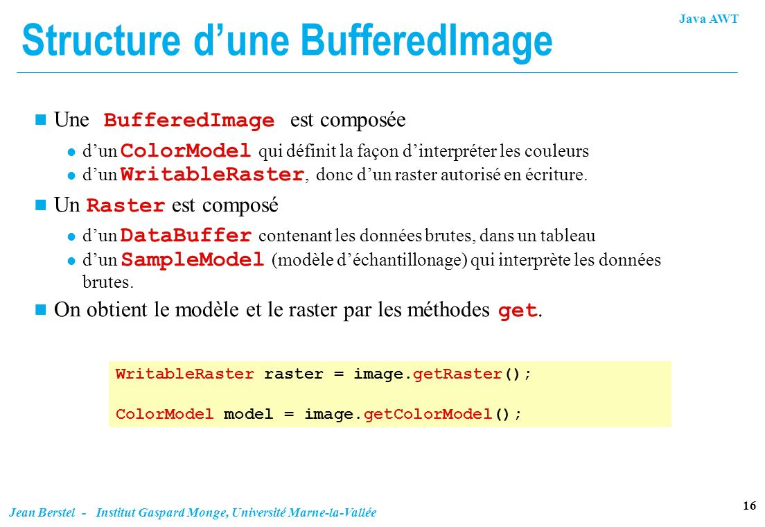 Structure d'une BufferedImage