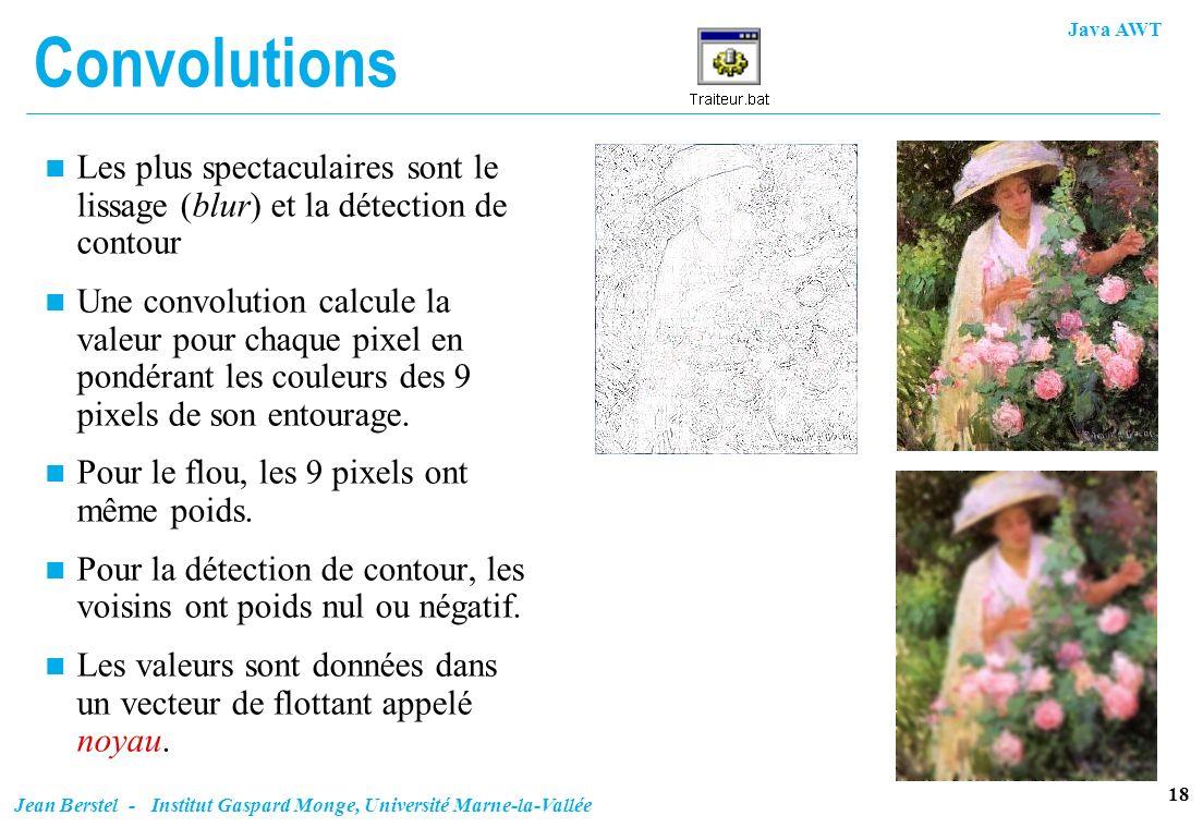 Convolutions Les plus spectaculaires sont le lissage (blur) et la détection de contour.