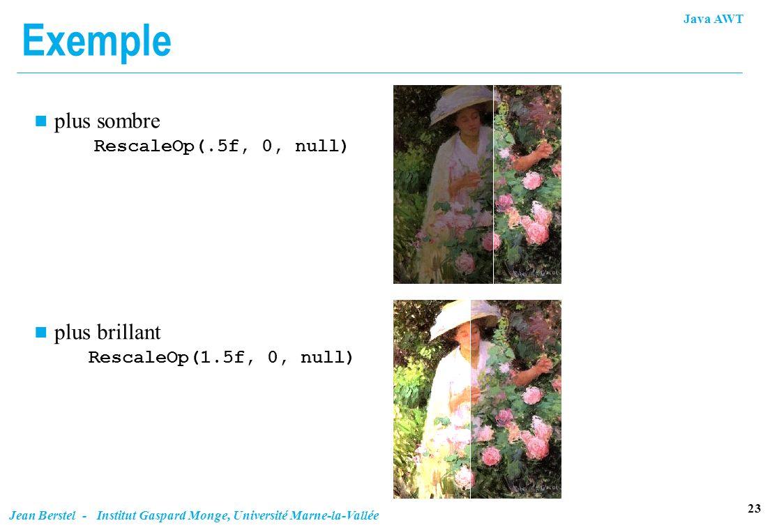 Exemple plus sombre RescaleOp(.5f, 0, null)