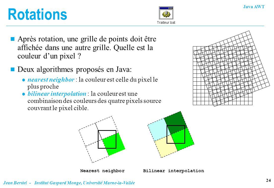 Rotations Après rotation, une grille de points doit être affichée dans une autre grille. Quelle est la couleur d'un pixel