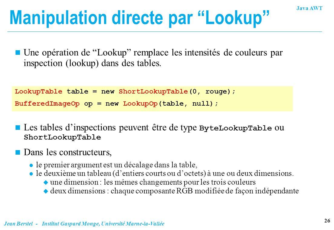 Manipulation directe par Lookup