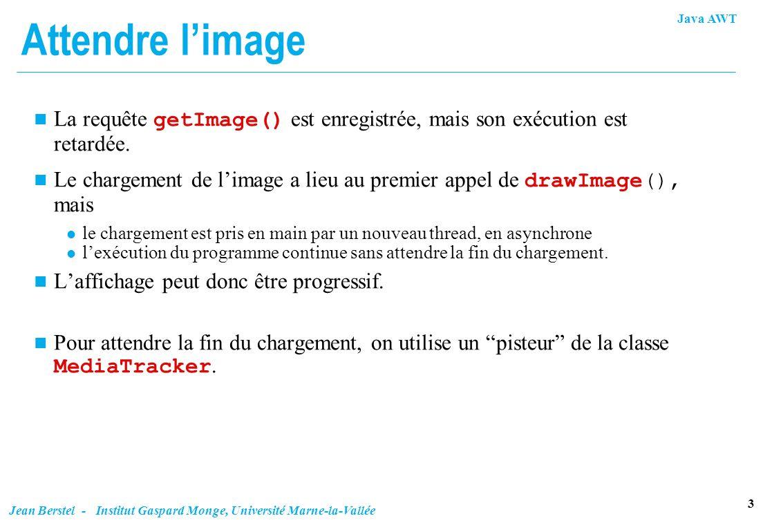 Attendre l'image La requête getImage() est enregistrée, mais son exécution est retardée.