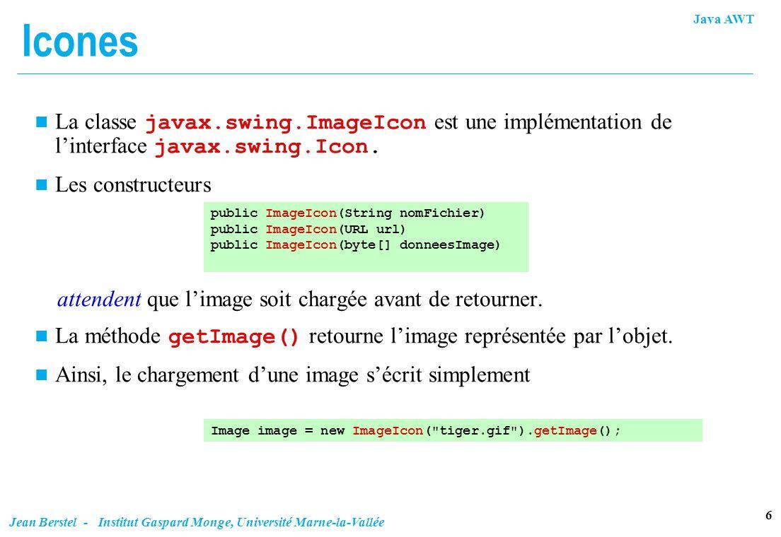 Icones La classe javax.swing.ImageIcon est une implémentation de l'interface javax.swing.Icon. Les constructeurs.