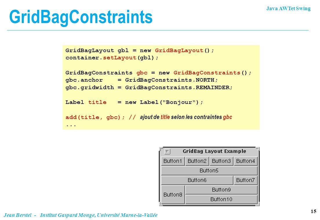 GridBagConstraints GridBagLayout gbl = new GridBagLayout();