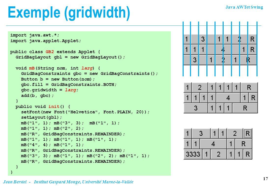 Exemple (gridwidth) import java.awt.*; import java.applet.Applet;
