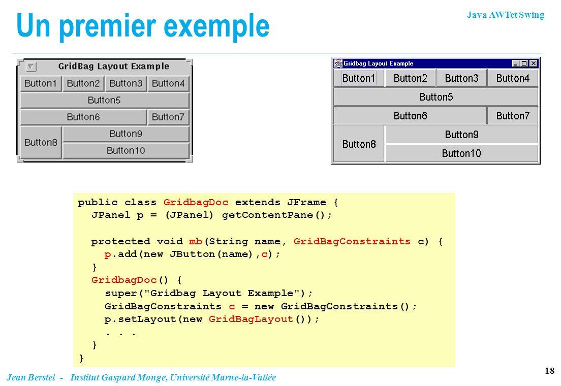 Un premier exemple public class GridbagDoc extends JFrame {