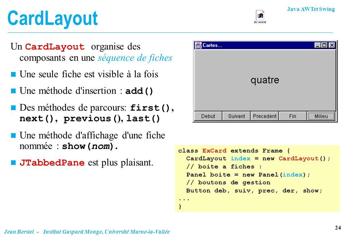 CardLayout Un CardLayout organise des composants en une séquence de fiches. Une seule fiche est visible à la fois.