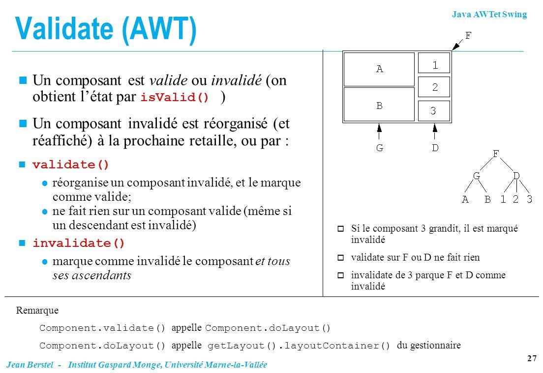 Validate (AWT) Un composant est valide ou invalidé (on obtient l'état par isValid() )