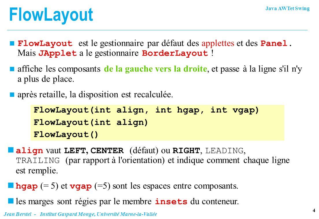 FlowLayout FlowLayout est le gestionnaire par défaut des applettes et des Panel. Mais JApplet a le gestionnaire BorderLayout !