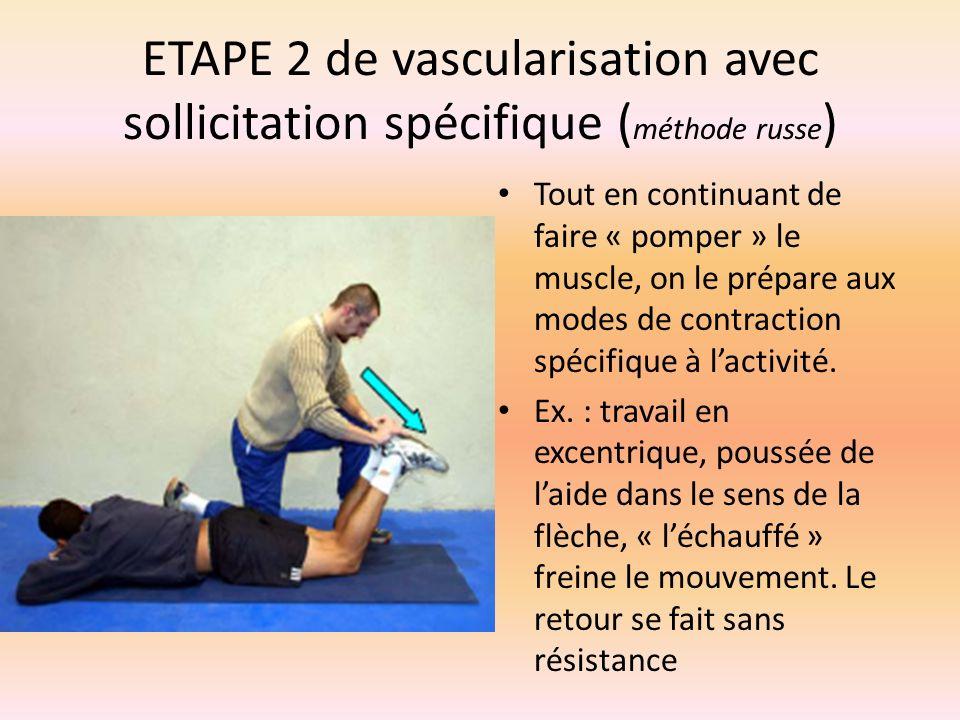 ETAPE 2 de vascularisation avec sollicitation spécifique (méthode russe)