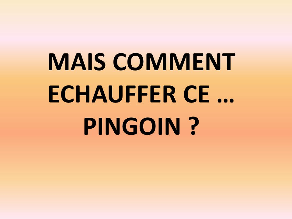 MAIS COMMENT ECHAUFFER CE … PINGOIN