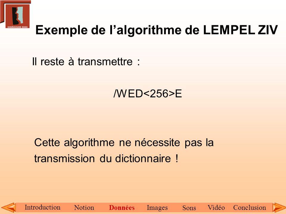 Exemple de l'algorithme de LEMPEL ZIV