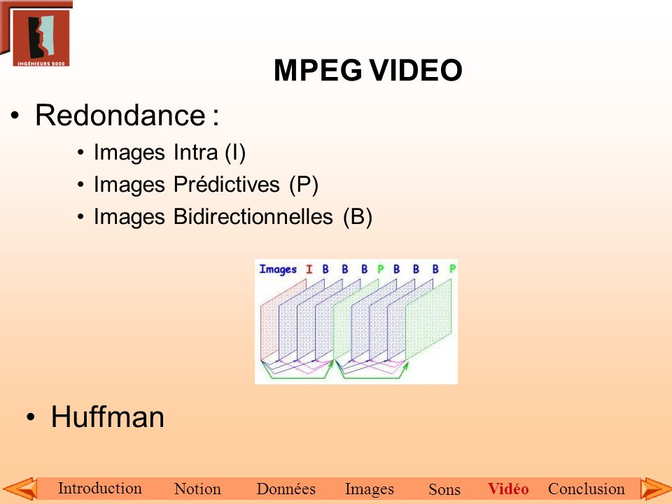 MPEG VIDEO Redondance : Huffman Images Intra (I)