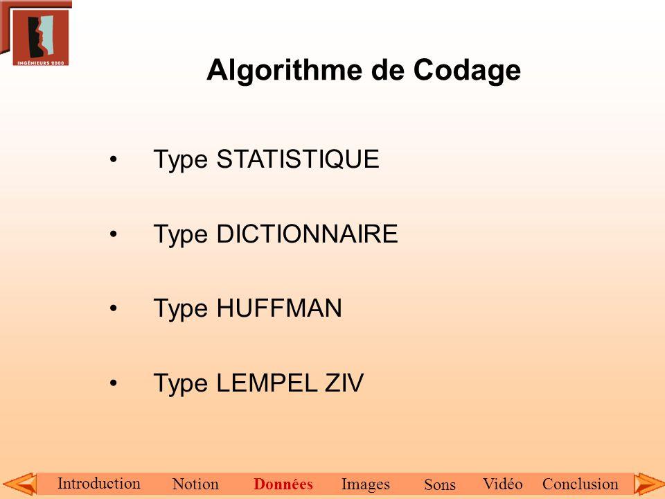 Algorithme de Codage Type STATISTIQUE Type DICTIONNAIRE Type HUFFMAN