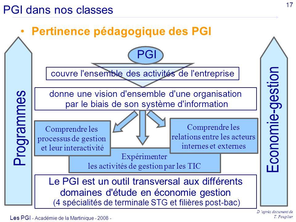 Economie-gestion Programmes PGI dans nos classes