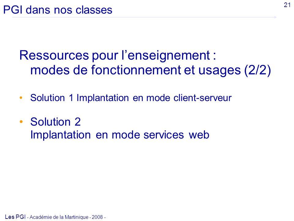 PGI dans nos classesAvril 2008. 21. Ressources pour l'enseignement : modes de fonctionnement et usages (2/2)
