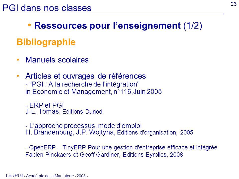 Ressources pour l'enseignement (1/2)