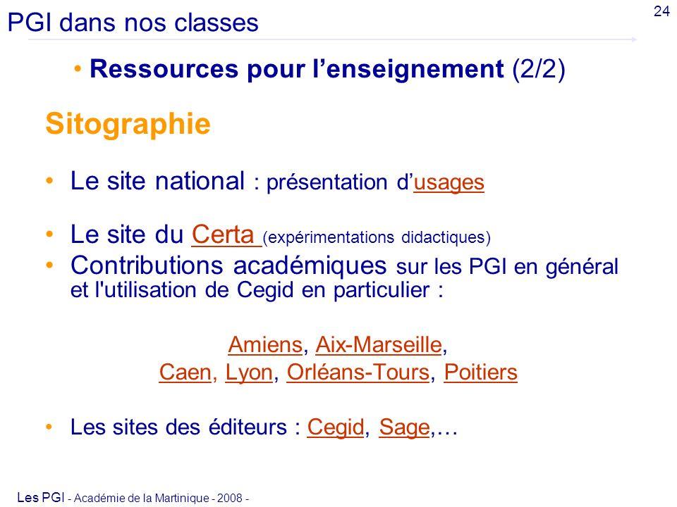 Sitographie PGI dans nos classes Ressources pour l'enseignement (2/2)
