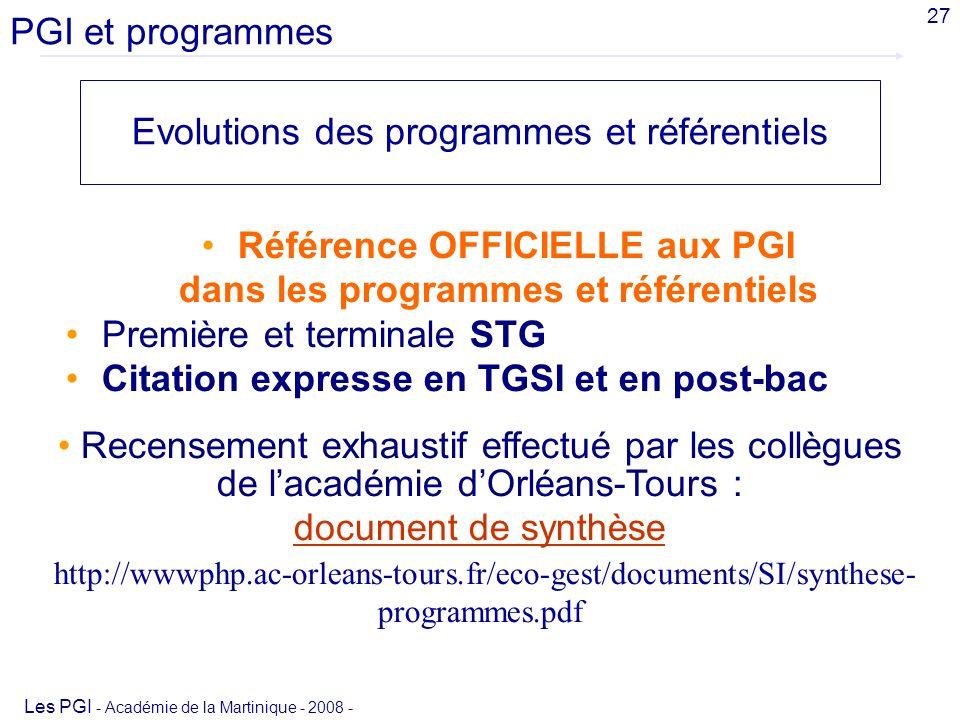 Référence OFFICIELLE aux PGI dans les programmes et référentiels