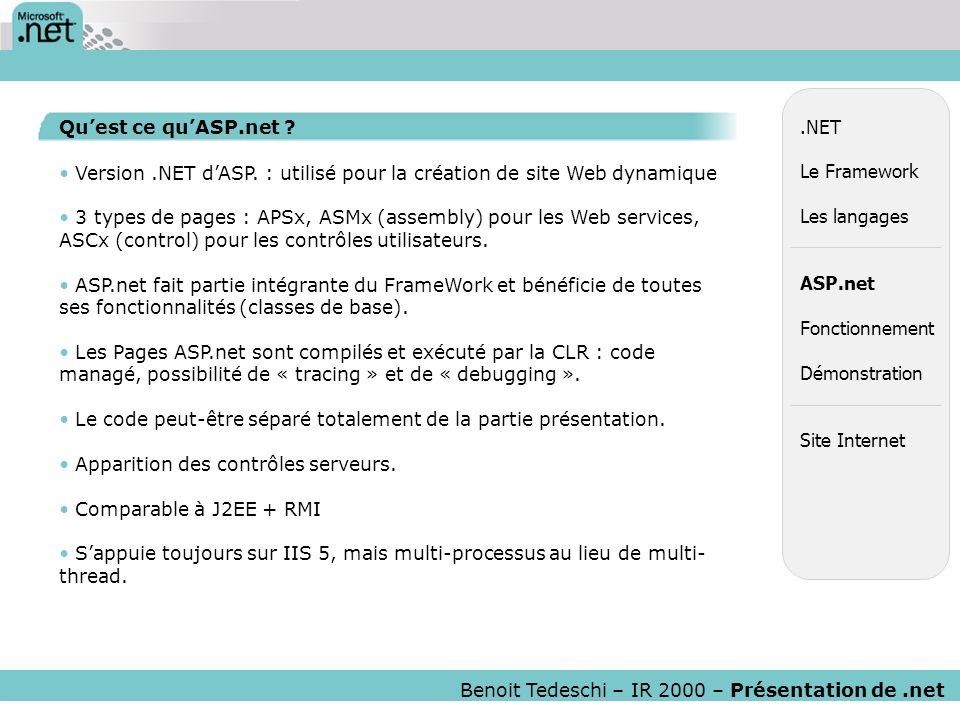 Version .NET d'ASP. : utilisé pour la création de site Web dynamique