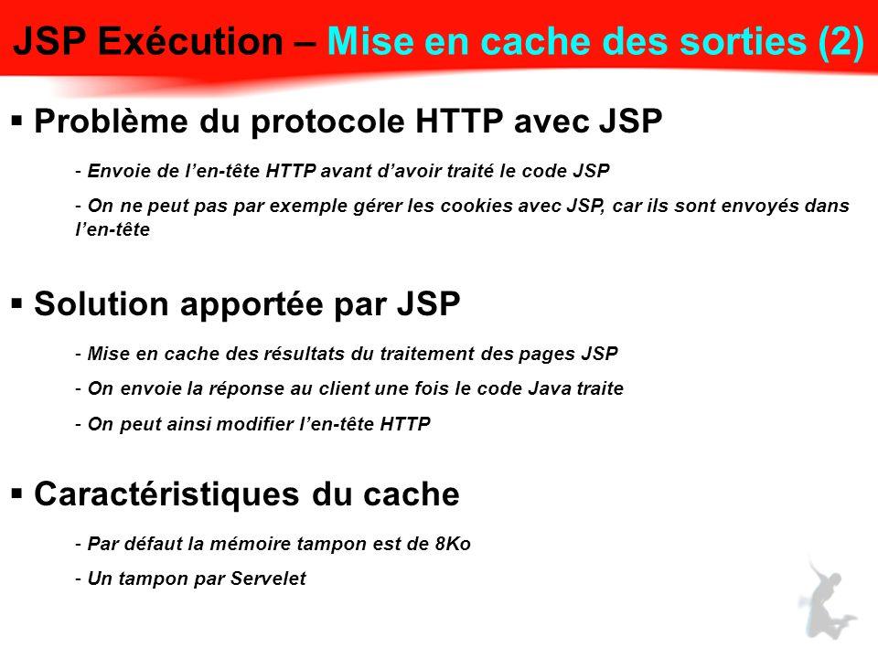 JSP Exécution – Mise en cache des sorties (2)