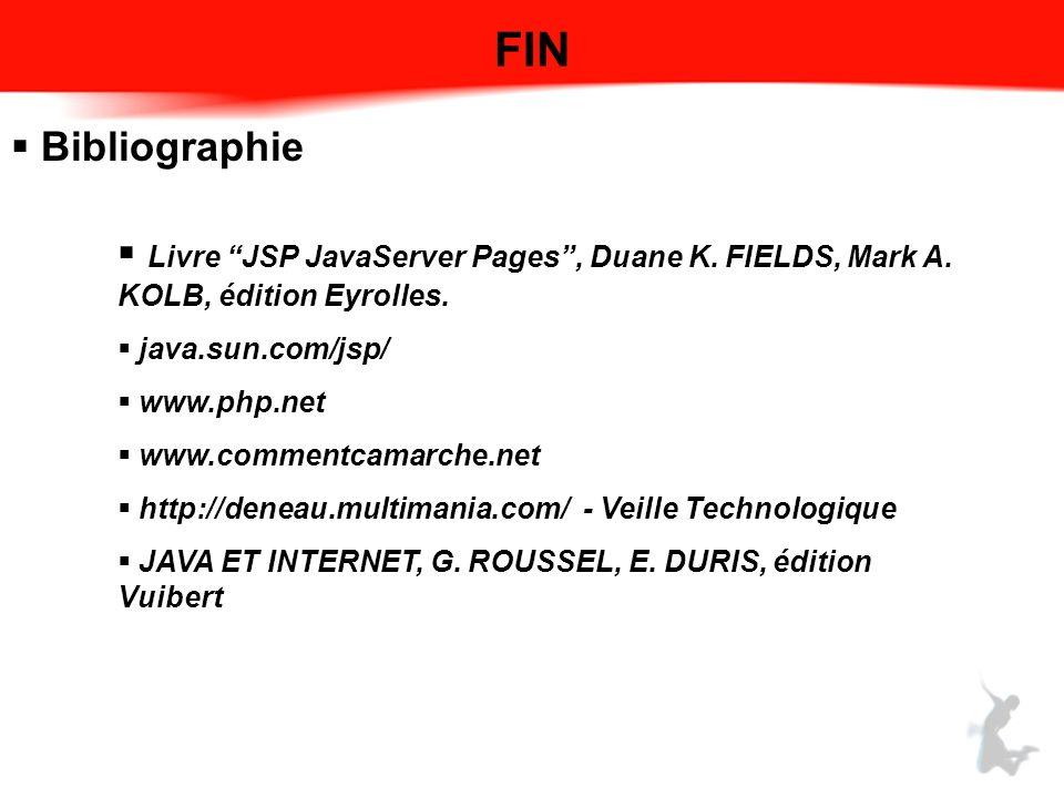 FIN Bibliographie. Livre JSP JavaServer Pages , Duane K. FIELDS, Mark A. KOLB, édition Eyrolles. java.sun.com/jsp/