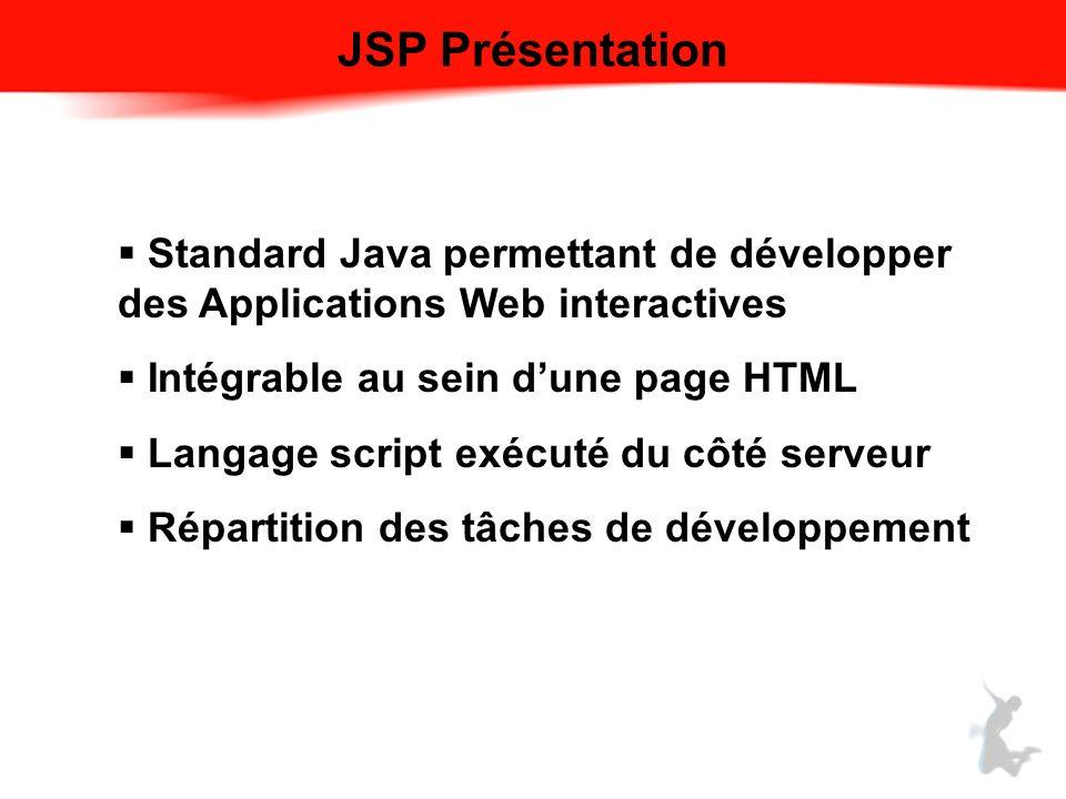 JSP Présentation Standard Java permettant de développer des Applications Web interactives. Intégrable au sein d'une page HTML.
