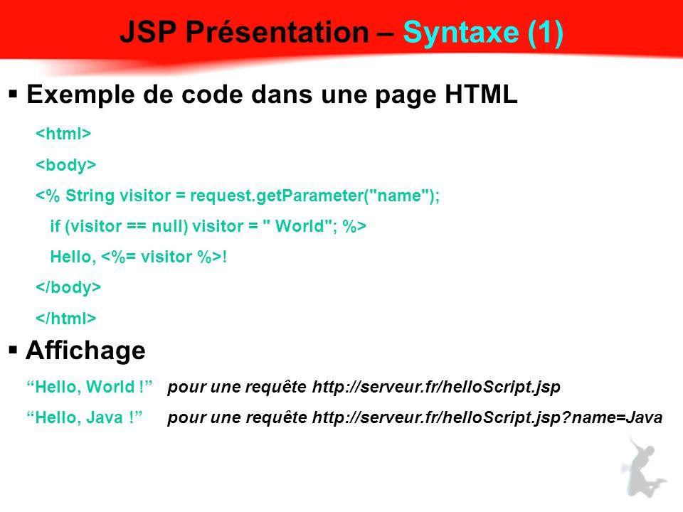 JSP Présentation – Syntaxe (1)