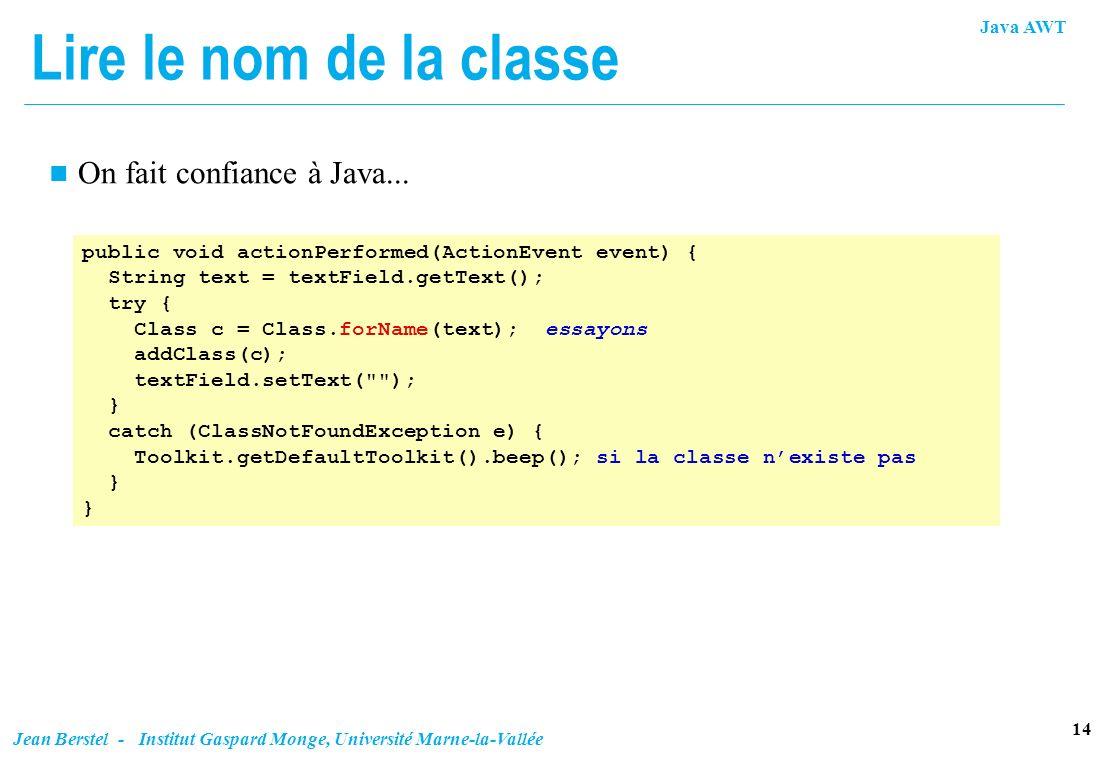 Lire le nom de la classe On fait confiance à Java...