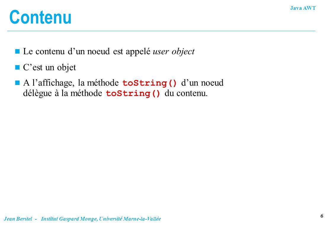 Contenu Le contenu d'un noeud est appelé user object C'est un objet