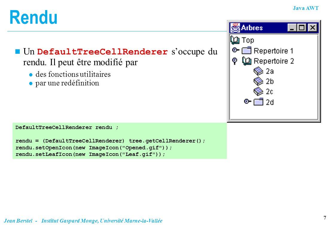 Rendu Un DefaultTreeCellRenderer s'occupe du rendu. Il peut être modifié par. des fonctions utilitaires.