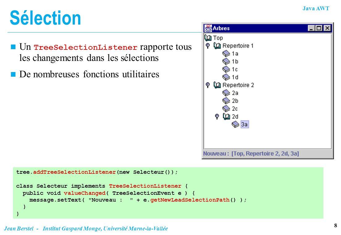 Sélection Un TreeSelectionListener rapporte tous les changements dans les sélections. De nombreuses fonctions utilitaires.