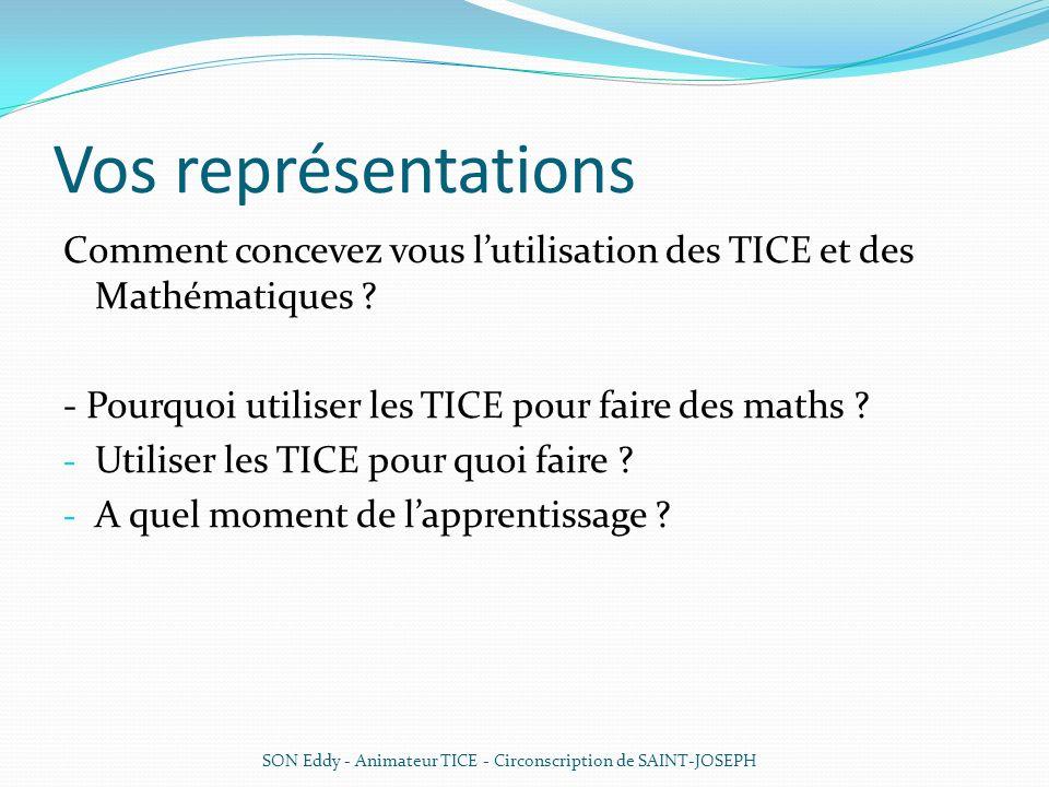 Vos représentations Comment concevez vous l'utilisation des TICE et des Mathématiques - Pourquoi utiliser les TICE pour faire des maths