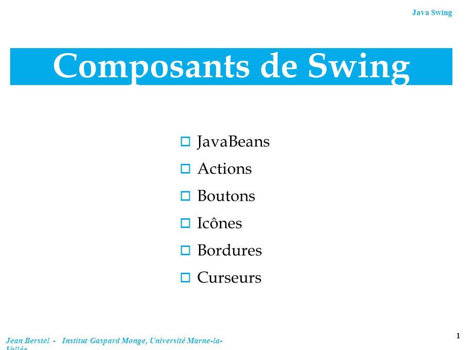 Composants de Swing JavaBeans Actions Boutons Icônes Bordures Curseurs