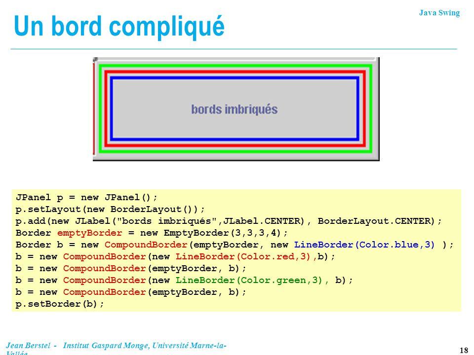 Un bord compliqué JPanel p = new JPanel();