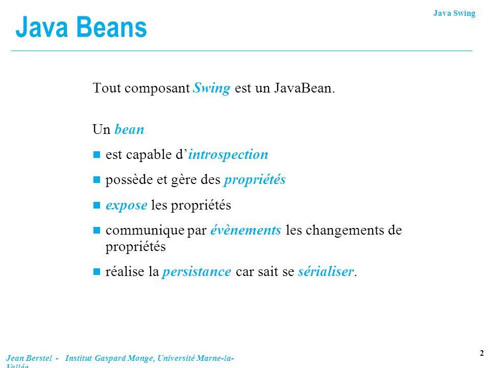 Java Beans Tout composant Swing est un JavaBean. Un bean