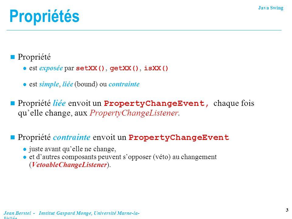Propriétés Propriété. est exposée par setXX(), getXX(), isXX() est simple, liée (bound) ou contrainte.