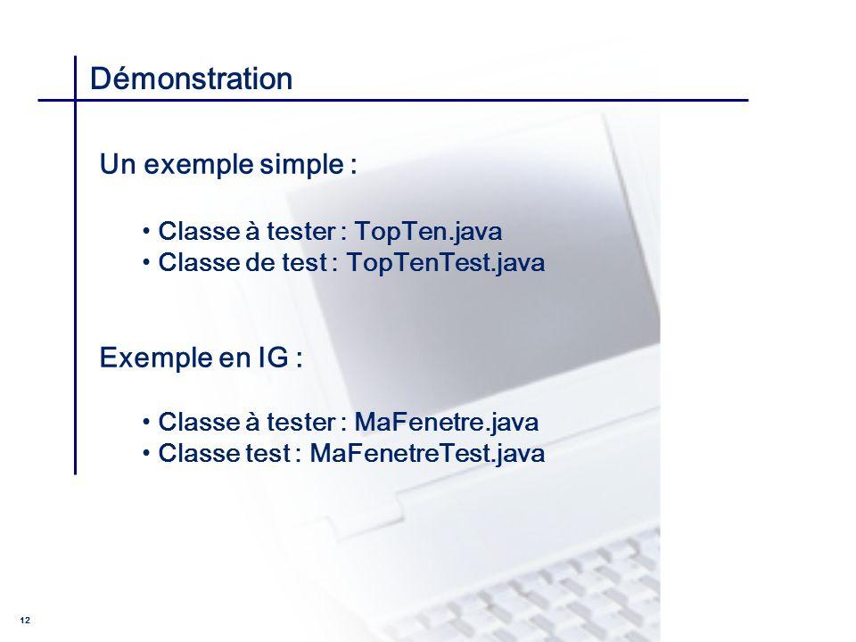 Démonstration Un exemple simple : Exemple en IG :