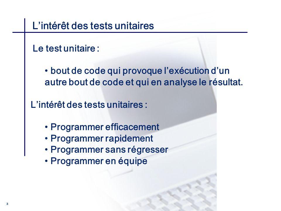 L'intérêt des tests unitaires