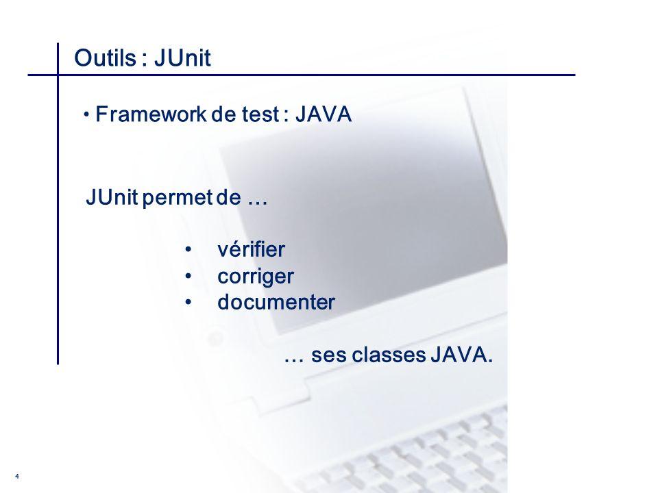 Outils : JUnit JUnit permet de … vérifier corriger documenter