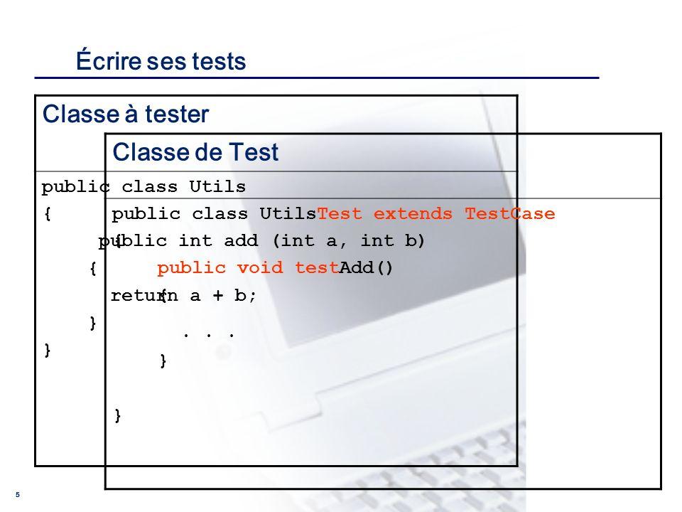 Écrire ses tests Classe à tester Classe de Test public class Utils