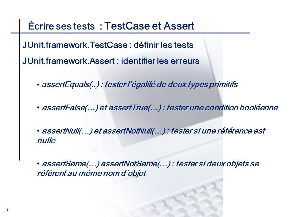 Écrire ses tests : TestCase et Assert