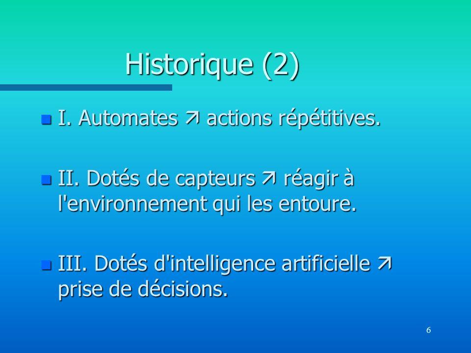 Historique (2) I. Automates  actions répétitives.