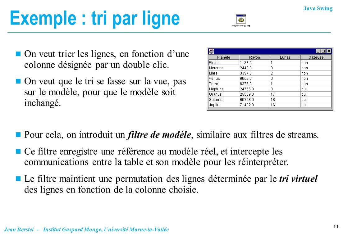Exemple : tri par ligne On veut trier les lignes, en fonction d'une colonne désignée par un double clic.