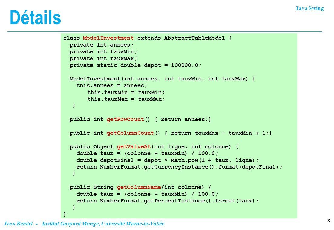 Détails class ModelInvestment extends AbstractTableModel {