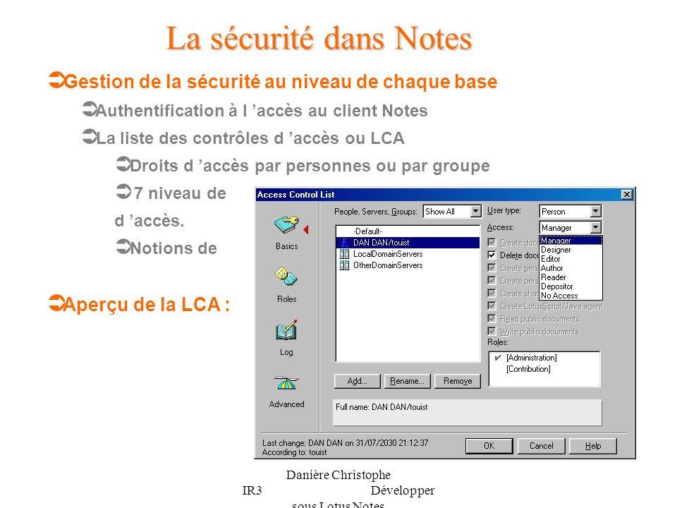 Danière Christophe IR3 Développer sous Lotus Notes